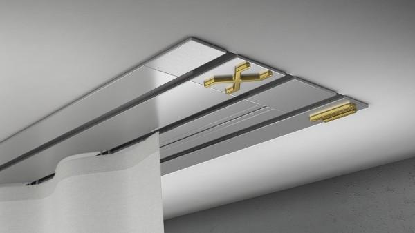 Endkappe X-rail Gold li Alu eloxiert 3-lfg (TB)
