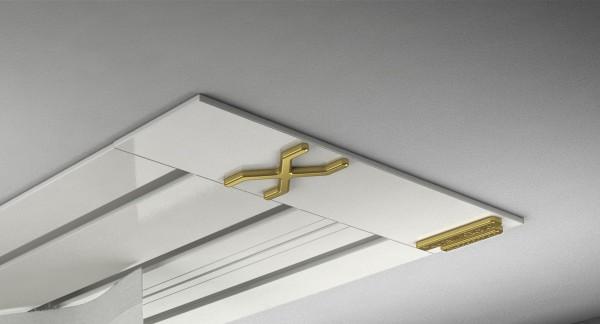 Endkappe X-rail Gold li Alu weiß 3-lfg (SD)