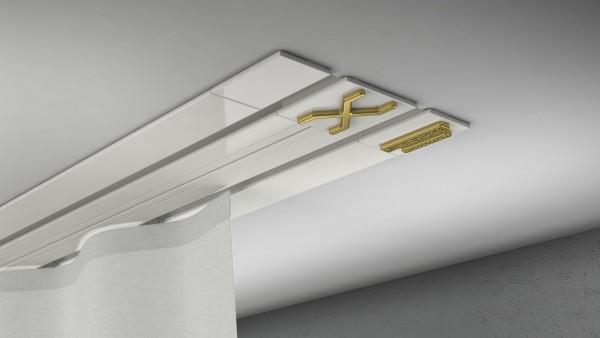 Endkappe X-rail Gold li Alu weiß 2-lfg (TB)