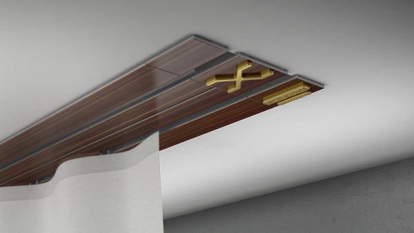 Endkappe X-rail Gold li Palisander 2-lfg (TB)