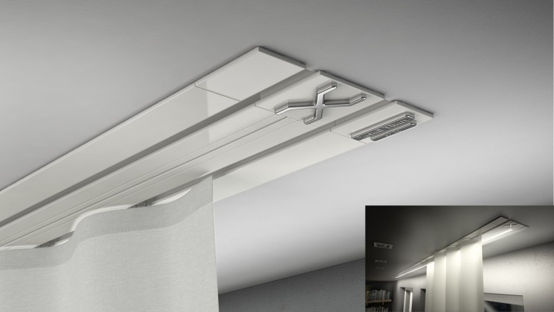 Vorhangschienen Unterputz X-rail-TITAN 2lfg weiß Alu