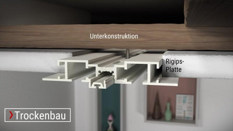Zur Einbauvorhangschiene X-rail TITAN Edelstahl Trockenbau