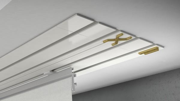 Endkappe X-rail Gold li Alu weiß 4-lfg (TB)