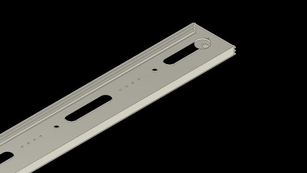Montageprofil (MP) X-rail Alu eloxiert 1-läufig für Unterputz / Einbetonieren   cm