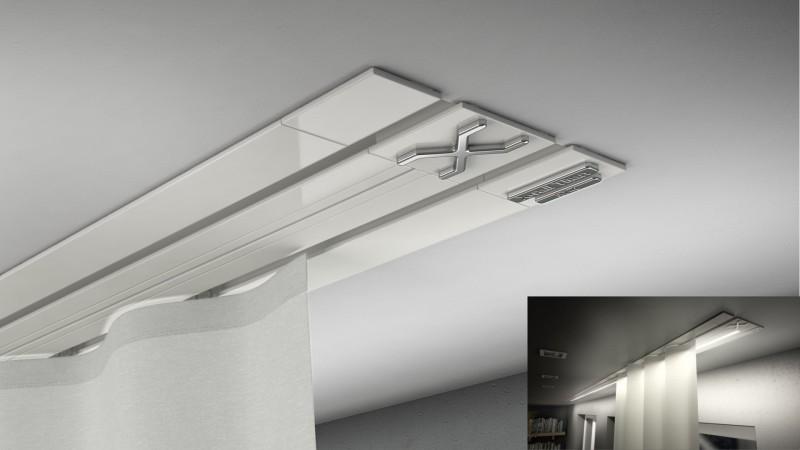 Gardinenschienen Unterputz X-rail-TITAN 2lfg weiß Alu