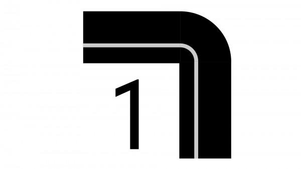 Durchschleuderbogen um Ecke X-rail Echtholz / RAL 90° 1-lfg
