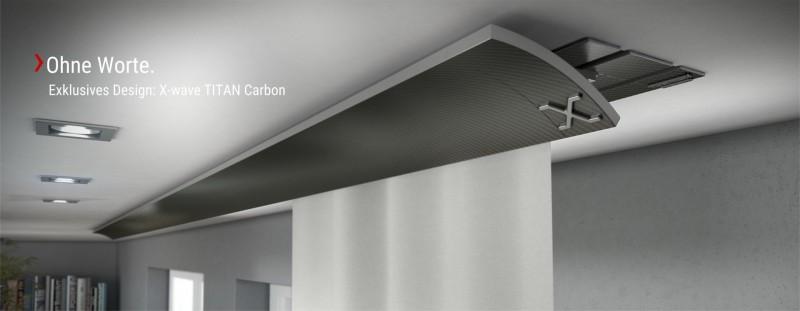 Einbauvorhangschiene X-wave TITAN Carbon