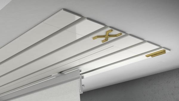 Endkappe X-rail Gold li Alu weiß 5-lfg (TB)