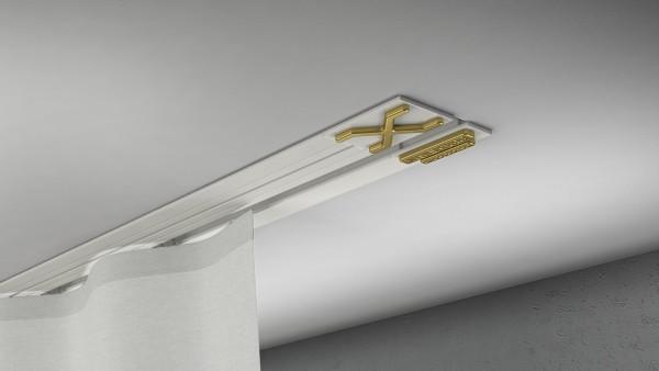 Endkappe X-rail Gold li Alu weiß 1-lfg (TB)