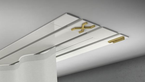 Endkappe X-rail Gold li Alu weiß 3-lfg (TB)