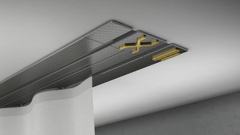 Vorhangschienen Unterputz X-rail GOLD 2lfg Carbon