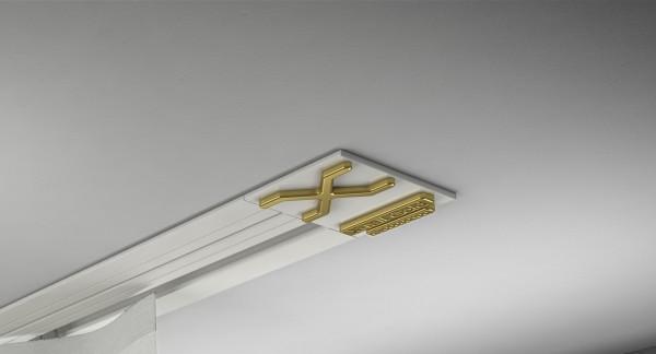 Endkappe X-rail Gold re Alu weiß 1-lfg (SD)