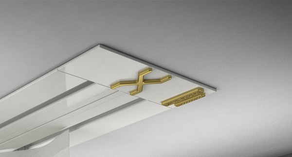 Endkappe X-rail Gold li Alu weiß 2-lfg (SD)